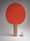 Ping Pong Paddle and Ball. Red Ping Pong Paddle and Ball stock image