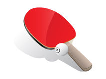 Ping-pong paddle and ball. Ping-pong paddle with white ball over white background. Vector illustration Stock Photography