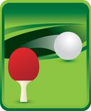 Ping pong paddle and ball on green background. Green backdrop with a ping pong ball and paddle vector illustration