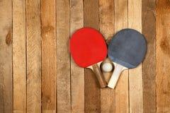 Ping pong paddle and ball Stock Photos