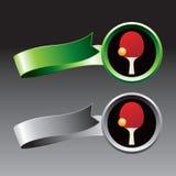 Ping pong paddle and ball ribbons. Ping pong paddle and ball on green and silver ribbons royalty free illustration