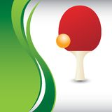 Ping pong paddle and ball on vertical green wave. Vertical green wave advertisement with a ping pong ball and paddle Royalty Free Stock Photos