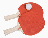 Ping Pong Paddles and Ball. Isolated on white, includes clipping path Royalty Free Stock Photography