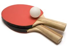 Ping Pong Paddles w/ Ball Royalty Free Stock Photography