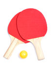 Ping pong paddles and yellow ball Stock Photography