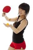 Ping-pong palying della giovane donna asiatica Immagini Stock