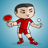 Ping Pong player. A ping pong player draw in cartoon style royalty free illustration