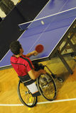 Ping pong player 2. Image of a disabled man in wheelchair playing table tennis. Live image from an international tennis table competition for persons with Royalty Free Stock Photos