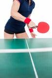Ping pong player hitting the ball Stock Photo