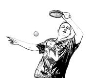Ping pong player illustration. Illustration of ping pong player on white Stock Photo
