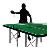 Ping pong player silhouette eight. On white background Stock Photography