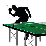Ping pong player silhouette five Royalty Free Stock Photo