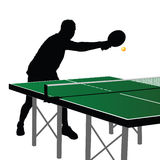 Ping pong player silhouette six Stock Image