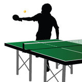 Ping pong player silhouette ten Stock Image