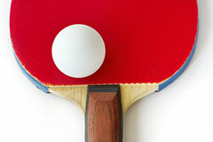 Ping-pong racket and ball Stock Photography