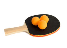 Ping-pong racket with balls Royalty Free Stock Photography