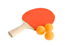 Ping-pong racket with balls Royalty Free Stock Photos