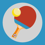 Ping pong racket icon. Red Ping pong racket on a blue background. Sports Equipment. Vector Illustration. Stock Photography