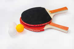 Ping pong rackets with balls Stock Images