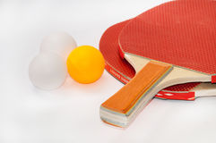 Ping pong rackets with balls Royalty Free Stock Photo