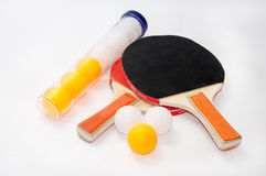 Ping pong rackets with package of balls Stock Photos