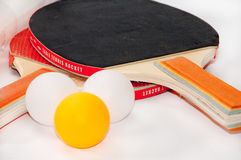 Ping pong rackets with package of balls Stock Images