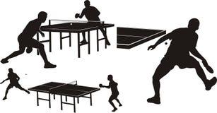 Ping-pong - siluette Fotografie Stock Libere da Diritti