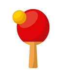Ping pong sport. Ping pong ball and racket over white background. colorful design. vector illustration Royalty Free Stock Photography