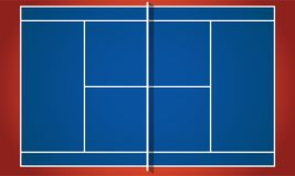 Ping pong table. In flat design - top view. Blue tennis table. Vector illustration Stock Photo