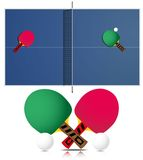 Ping Pong Table and rackets Stock Photo