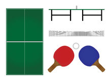 Ping Pong Table & Rackets Royalty Free Stock Photo