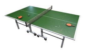 Ping pong table rackets and balls in a sport hall royalty free illustration