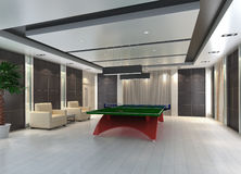 Ping Pong table in room, 3D render Stock Photos