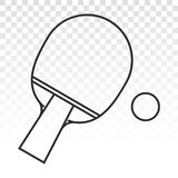 Ping pong table tennis paddle with a ping pong ball vector icon on a transparent background