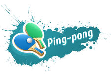 Ping-pong table tennis racket and ball on grunge background Royalty Free Stock Photography