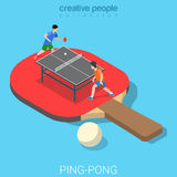 Ping-pong table tennis racket players flat isometric vector 3d Royalty Free Stock Photography