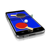 Ping-Pong Table Tennis on Smartphone, Sports App Royalty Free Stock Images