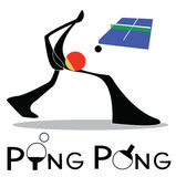 Ping Pong Table Tennis. Table Tennis or Ping Pong sport games logo and symbol Shadow man cartoon design vector illustration