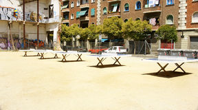 Ping pong tables in El Raval Stock Photo