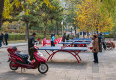Ping-pong tables in a park Royalty Free Stock Photo