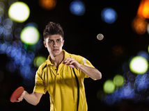Ping pong tennis player returning Stock Photos