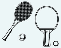 Ping pong. Tennis racket and ball Royalty Free Stock Photos