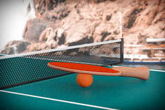 Ping-pong tennis table with Paddle Royalty Free Stock Photo