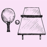 Ping Pong, tennis table, rackets and ball. Doodle style, sketch illustration, hand drawn, vector Royalty Free Stock Photography