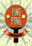Ping Pong typographical vintage grunge style poster. Retro vector illustration. Royalty Free Stock Images