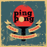 Ping Pong typographical vintage grunge style poster. Retro vector illustration. Royalty Free Stock Image