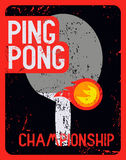Ping Pong typographical vintage grunge style poster. Retro vector illustration. Stock Image