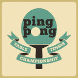 Ping Pong typographical vintage style poster. Retro vector illustration. Stock Photography