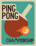 Ping Pong typographical vintage style poster. Retro vector illustration. Stock Image