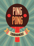 Ping Pong typographical vintage style poster. Retro vector illustration. Royalty Free Stock Image